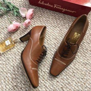 Salvatore Ferragamo cognac lace up heel oxfords